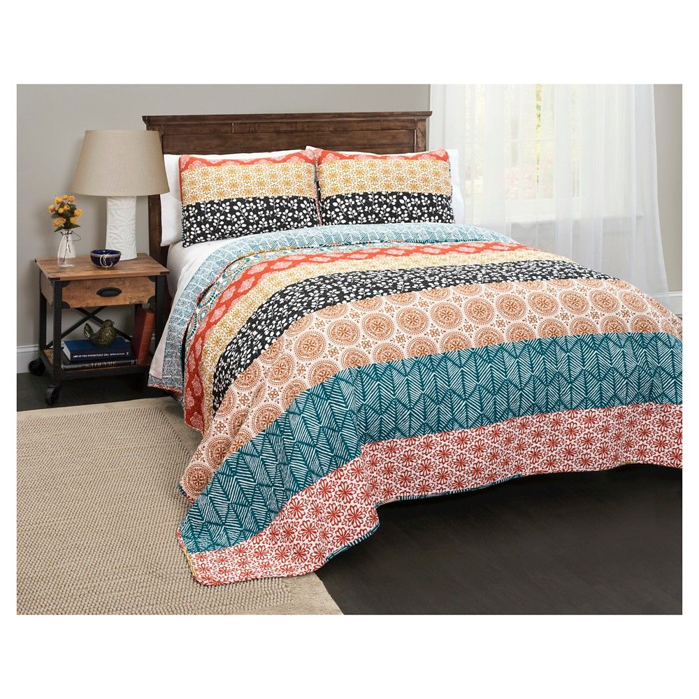 Bohemian Stripe Quilt 3 Piece Set Full Queen Turquoise