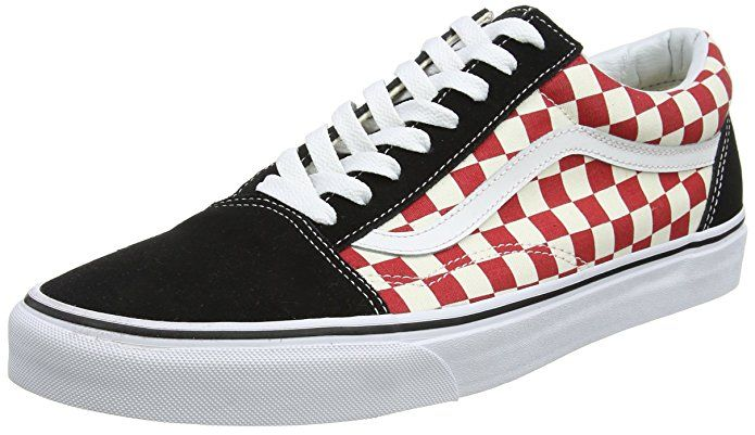 97a586a3f5 Vans Old Skool Checkerboard Unisex Trainers Black White Red - 6 UK ...
