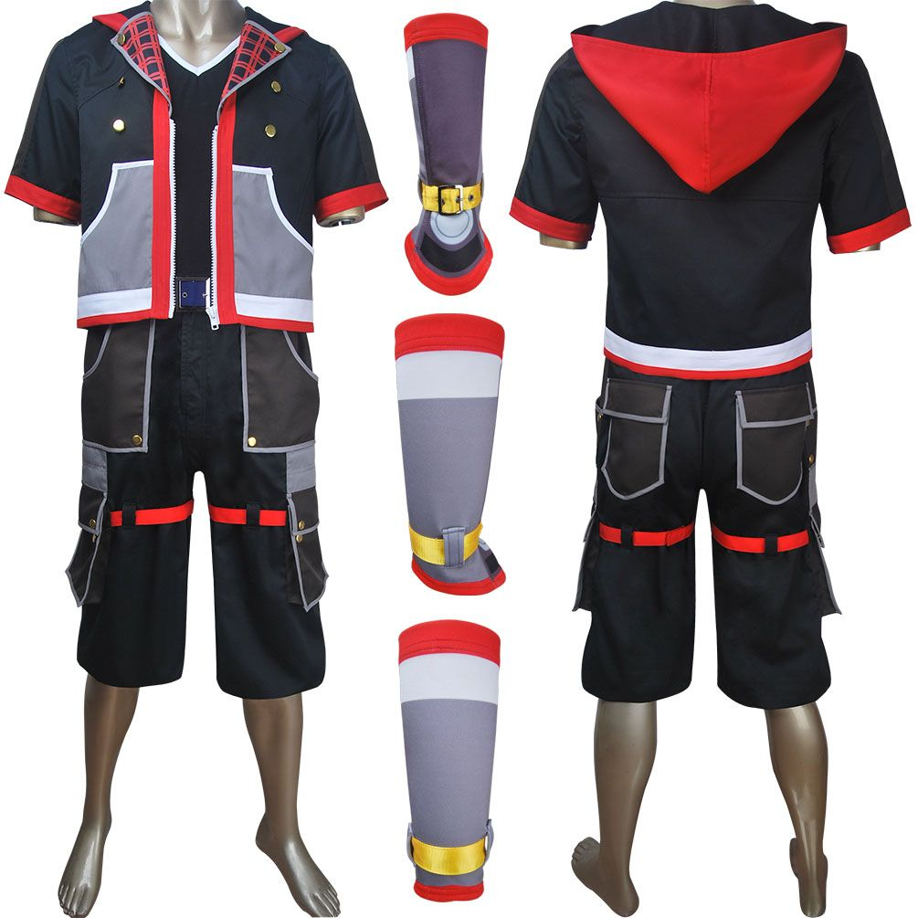 Game Kingdom Hearts 3 Sora Cosplay Full Set Costume Halloween Unisex Adult New