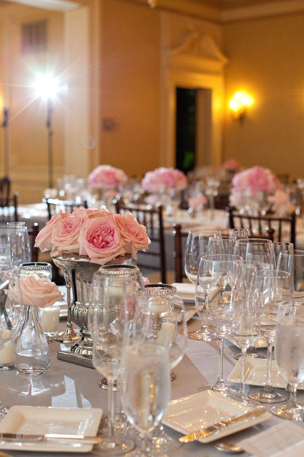 Wedding Table Decor Grey Silver Tablecloths With Cup Trophy Vases And Pink Roses Centerpiece