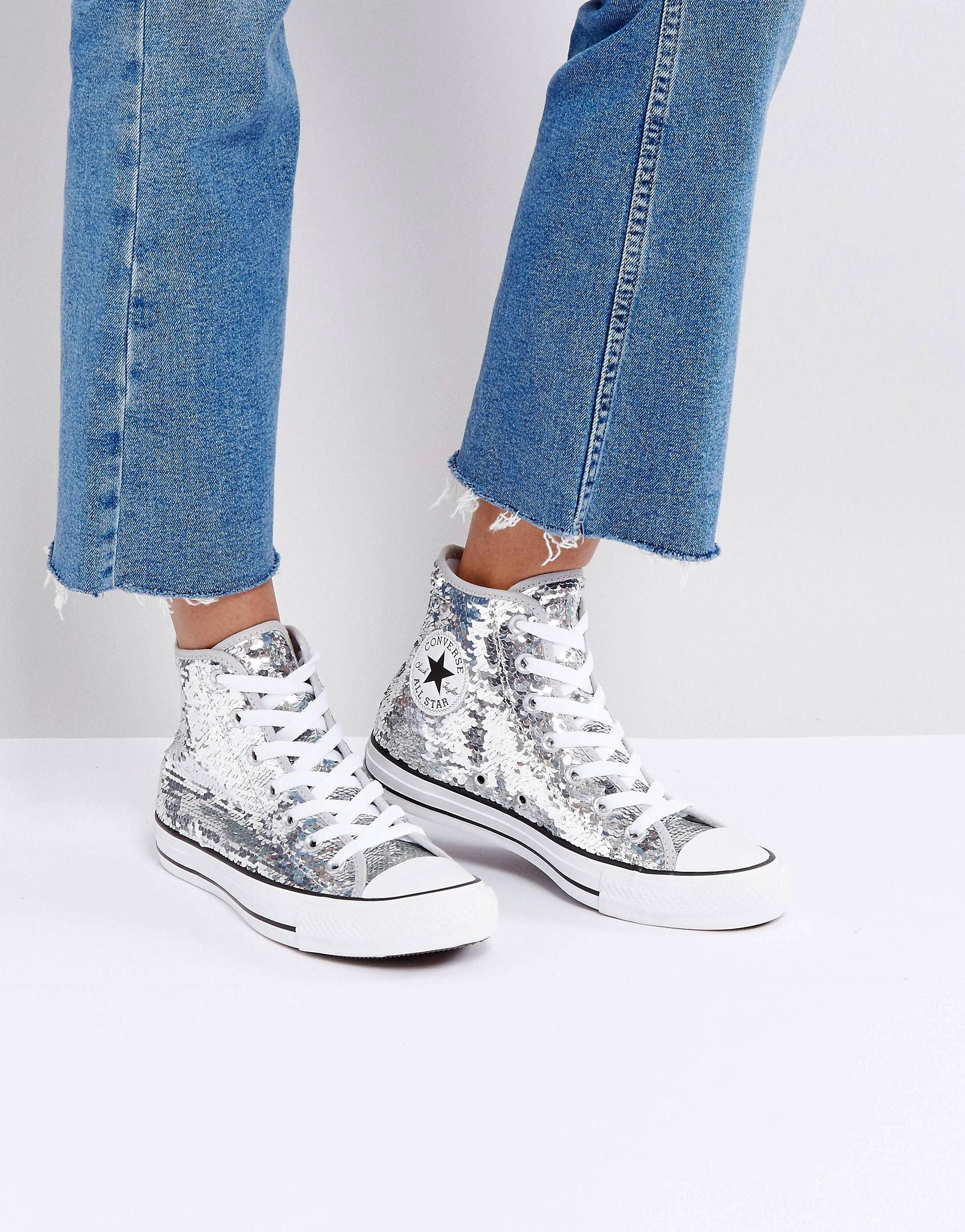 Converse Chuck Taylor High Trainers In Silver Sequin
