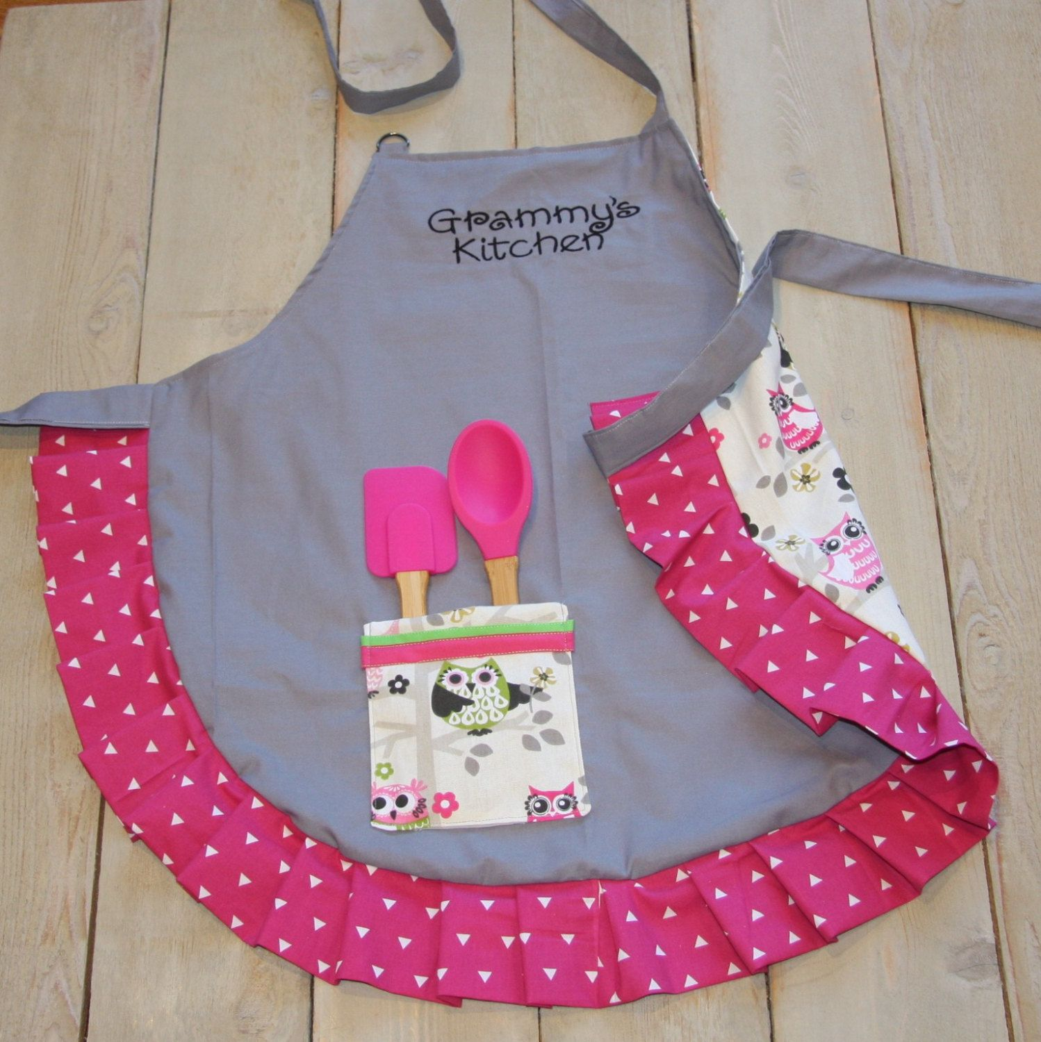 Minnie Apron Personalized Pink Apron Embroidered Purple