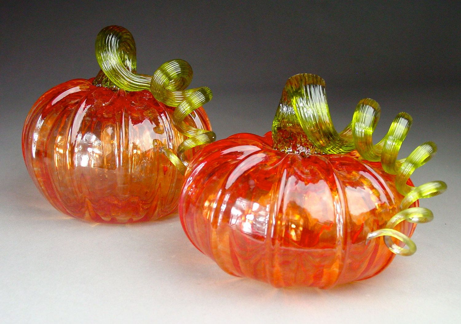 Hand blown glass pumpkins so delicate with images