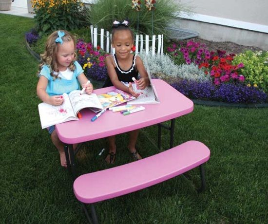 80156 Lifetime Childrens Picnic Table Pink Folding Table