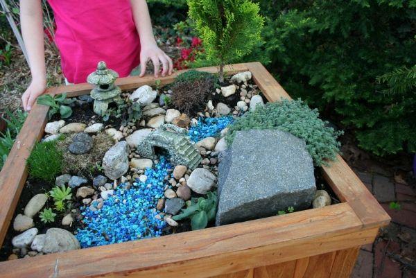 Mini Garten Holz Kiste Japanischer Garten Deko Sand Miniaturen