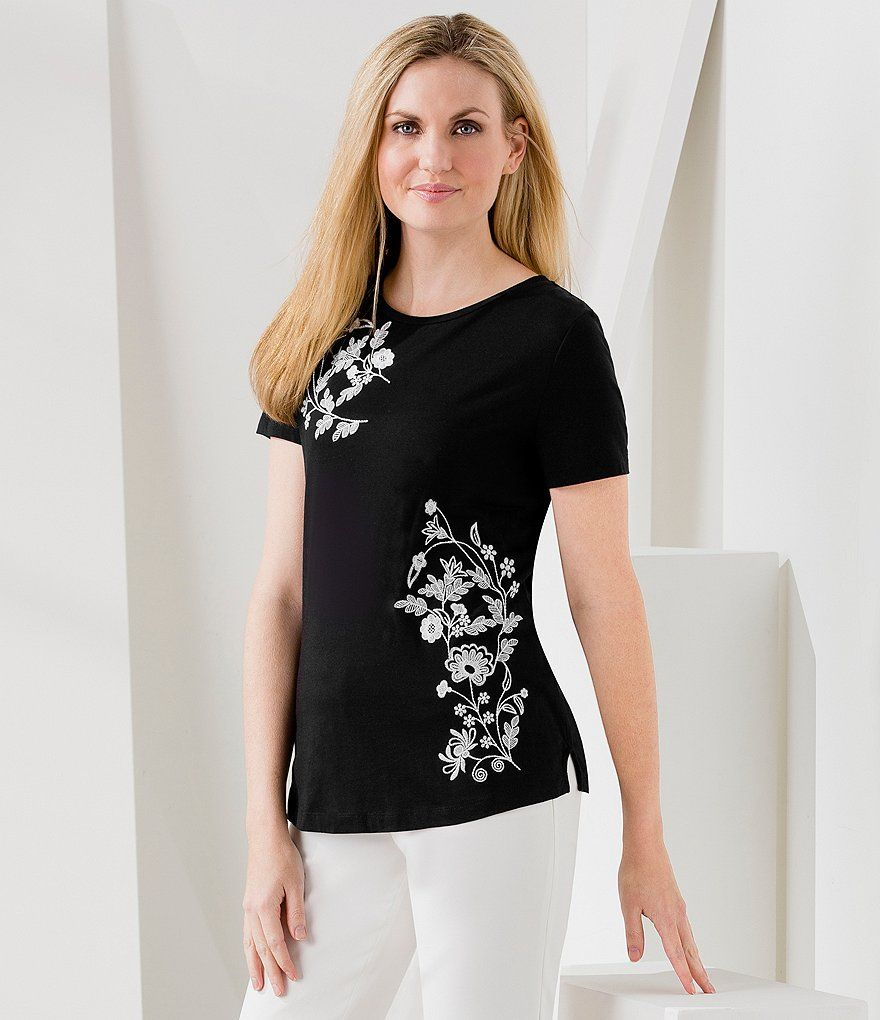 Ivanka Trump Embroidered Knit Jersey Tee
