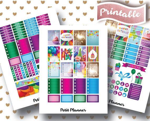 Birthday Stickers // Birthday Planner Stickers // Cake Stickers // Happy Birthday Stickers// Erin Condren Life Planner // Printable Stickers // Erin Condren Life Planner // Monthly set // Planner Stickers // Stickers By Petit Planner on Etsy