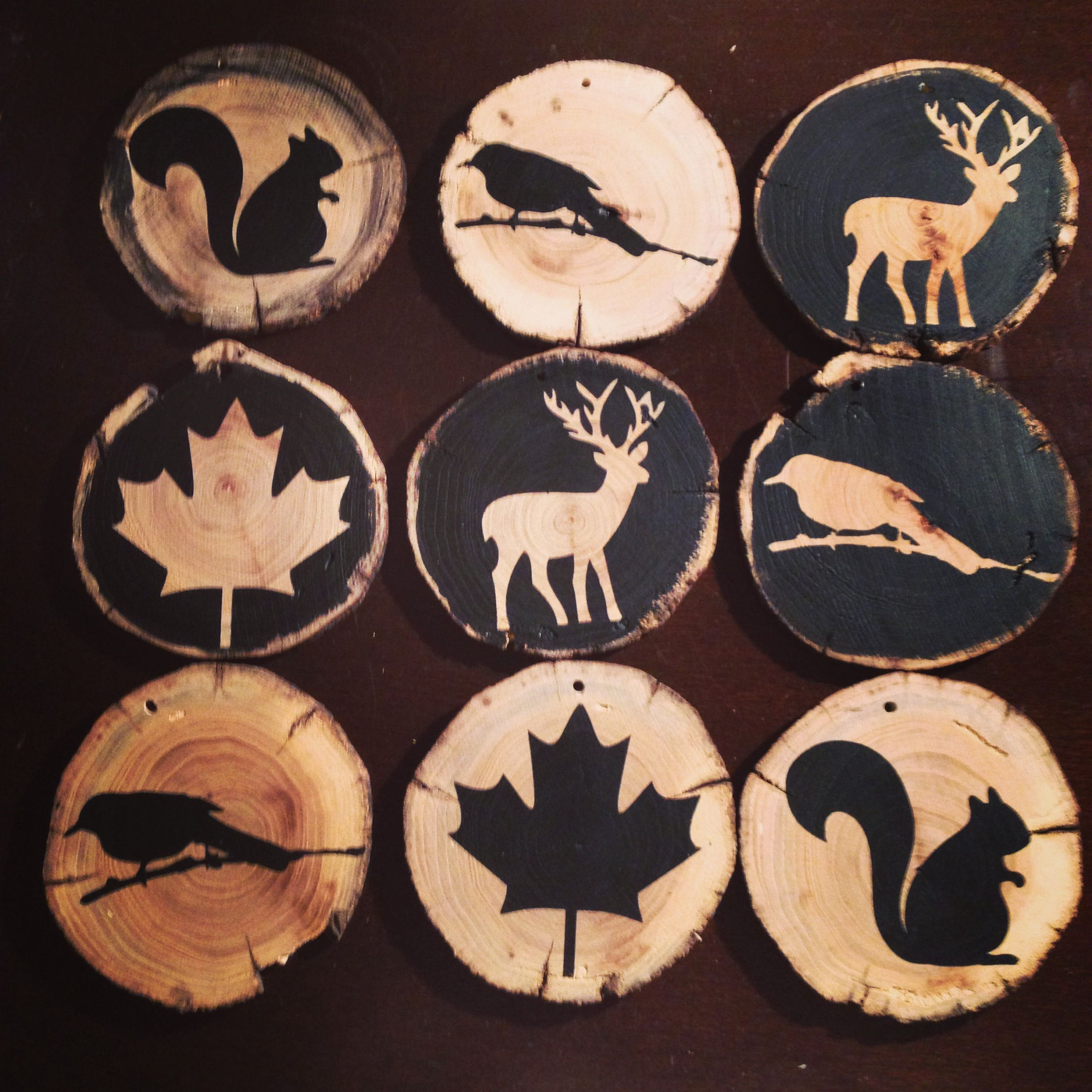 Wooden animals ornaments - Personalized Wooden Disc Ornaments