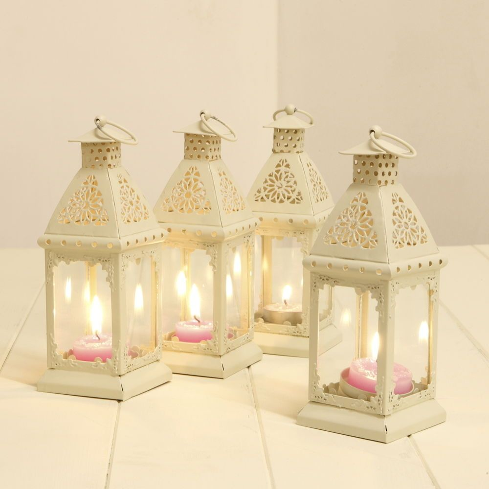 Party decoration ideas moroccan metal lantern - 4 X 18cm Moroccan Cream Lanterns Tea Light Wedding Parties Candle Holder Hanging