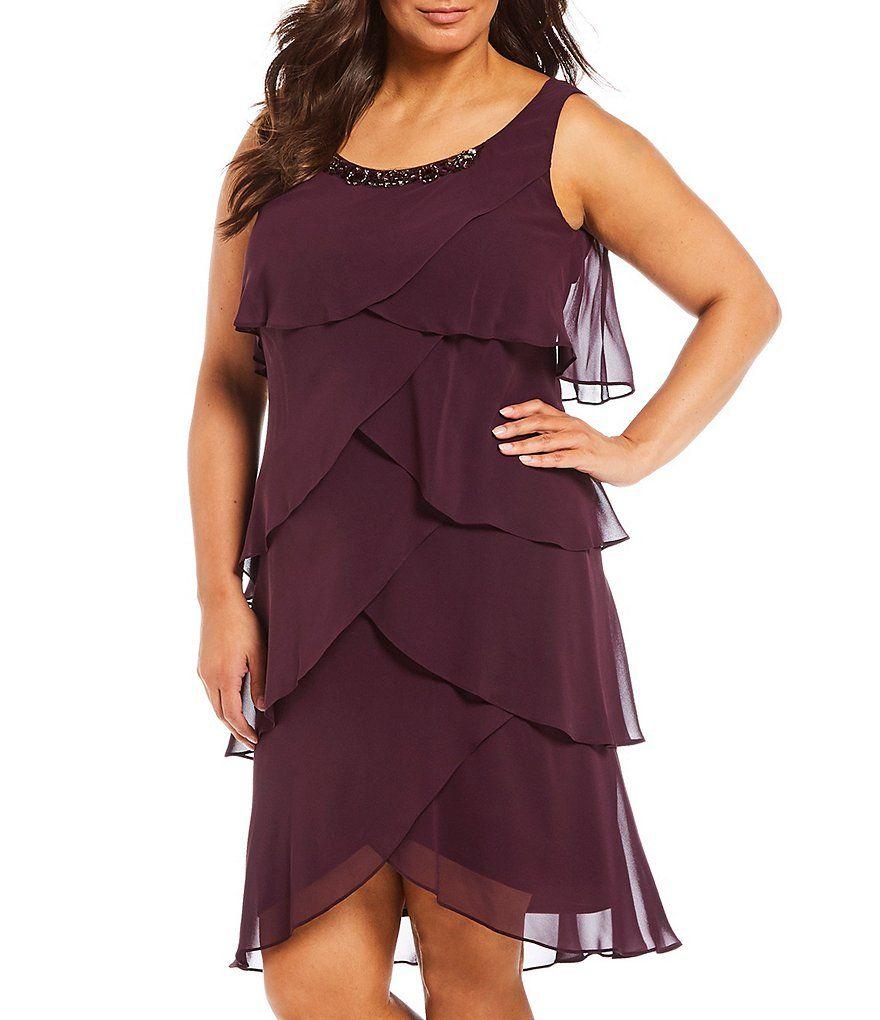 55a00cf8f62 Ignite Evenings Plus Size Beaded Neck Tiered Chiffon Jacket Dress Size