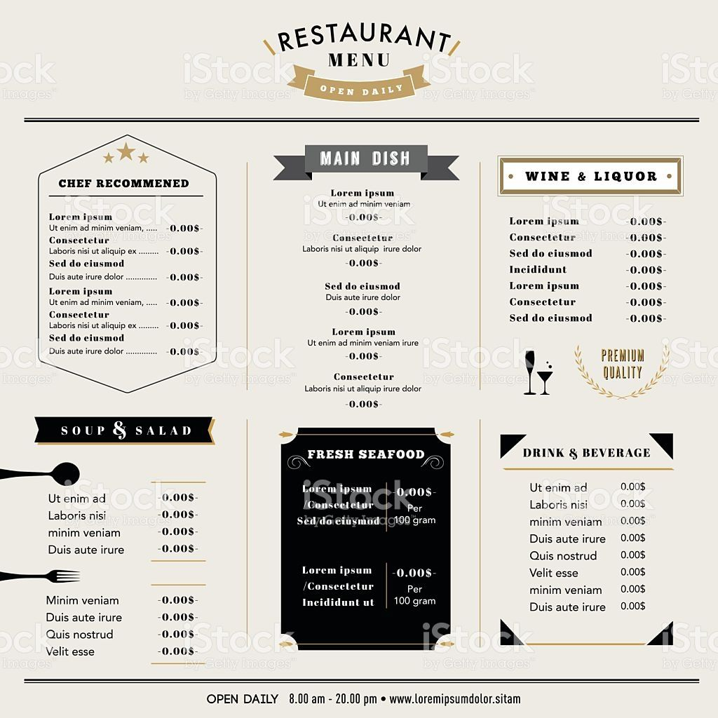 Restaurant Menu Design Template layout with icons Vintage style ...