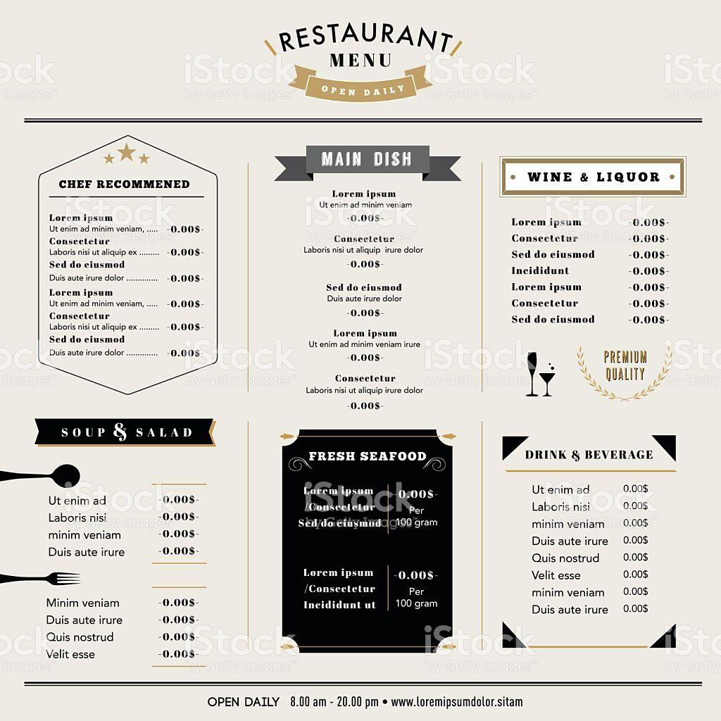 restauracja menu szablon projektu ukadu w stylu vintage stockowa ilustracja wektorowa royalty free