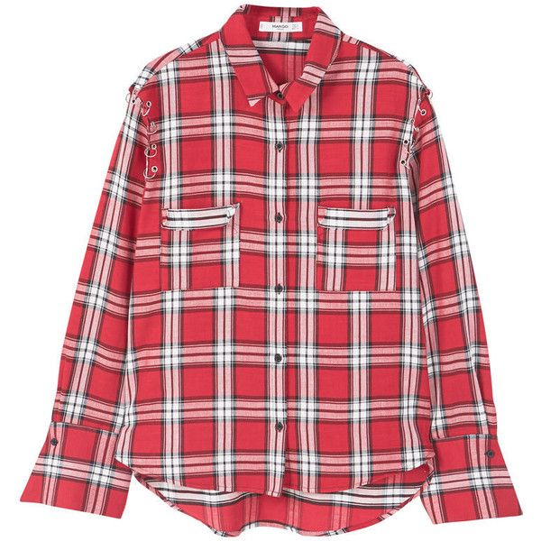 MANGO Check cotton shirt ($30) ❤ liked on Polyvore featuring tops, collared shirt, red checkered shirt, long sleeve checkered shirt, long sleeve shirts and button front shirt