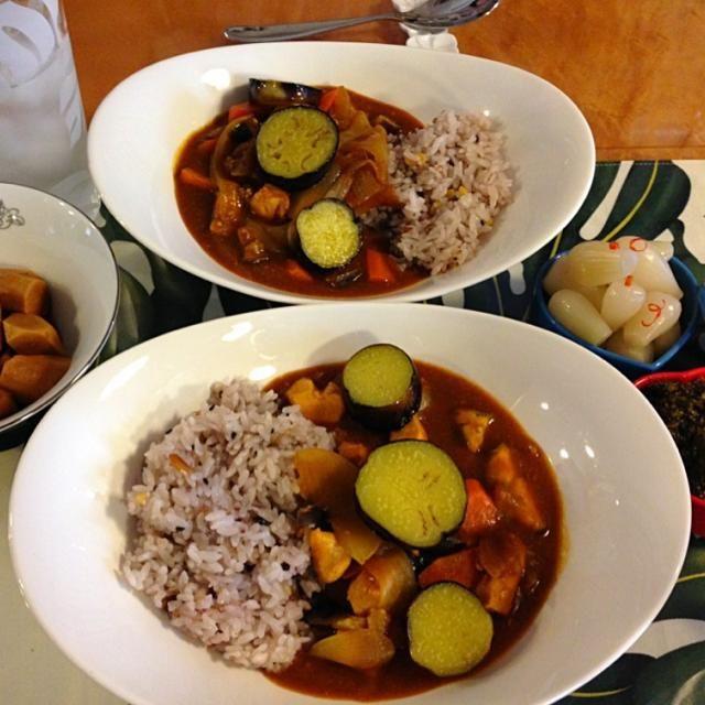 野菜たっぷりのカレーには雑穀ご飯がピッタリ♡ - 5件のもぐもぐ - 茄子とチキンの野菜たっぷりカレー by ヨーコ