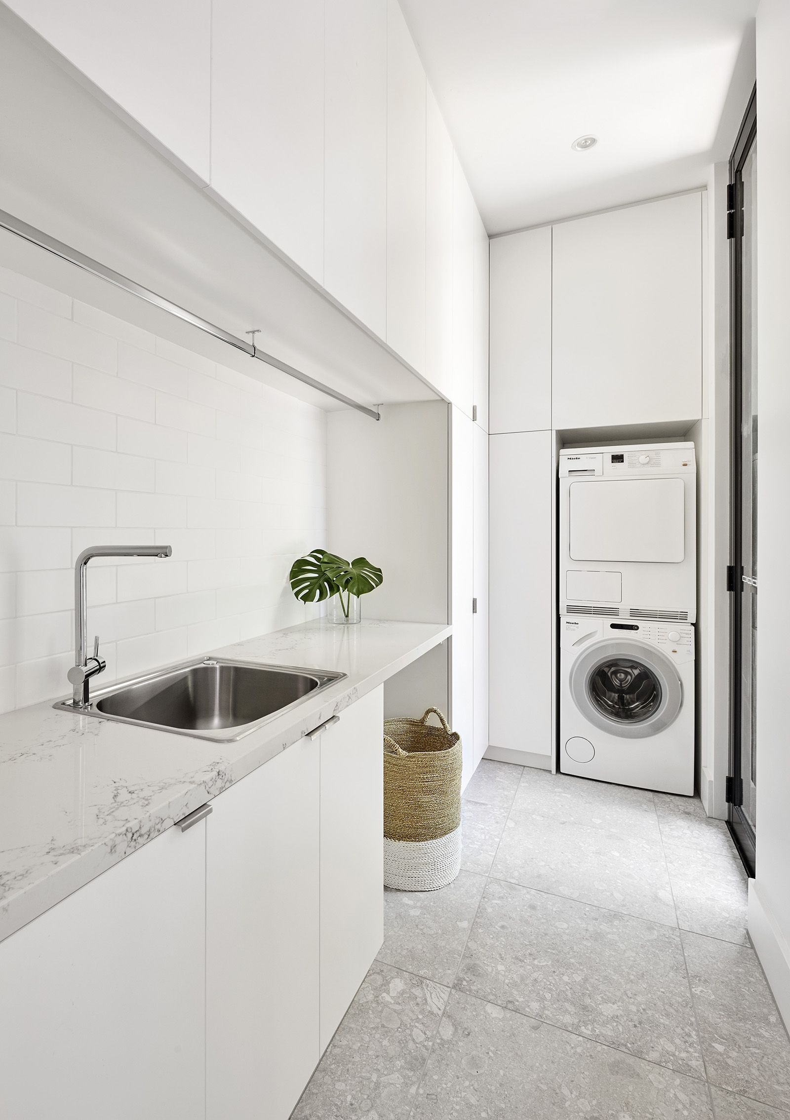 Big Floor Tiles White Cabinets Storage Modern Laundry