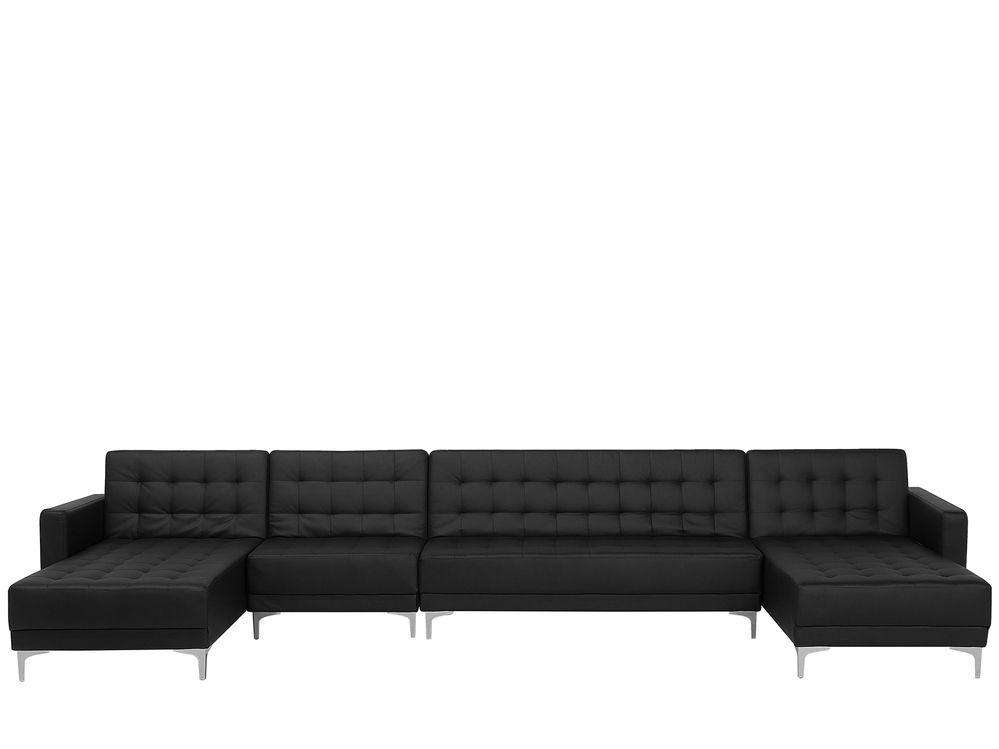 Canape Panoramique Convertible En Simili Cuir Noir Aberdeen En 2020 Canape Panoramique Convertible Canape Angle Convertible Simili Cuir Noir