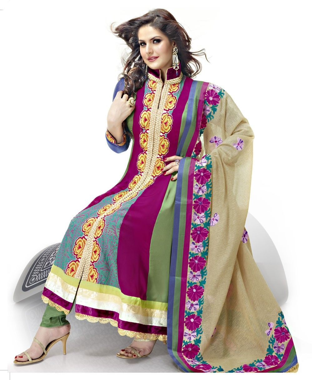 Multi Colored Satin Churidar Kameez >> http://www.gravity-fashion.com/10395-multi-colored-satin-churidar-kameez.html