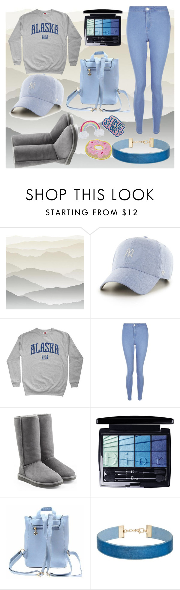 """""""Blue and grey"""" by alexzoefred ❤ liked on Polyvore featuring York Wallcoverings, '47 Brand, New Look, UGG Australia, Christian Dior, Miss Selfridge, Blue and grey"""