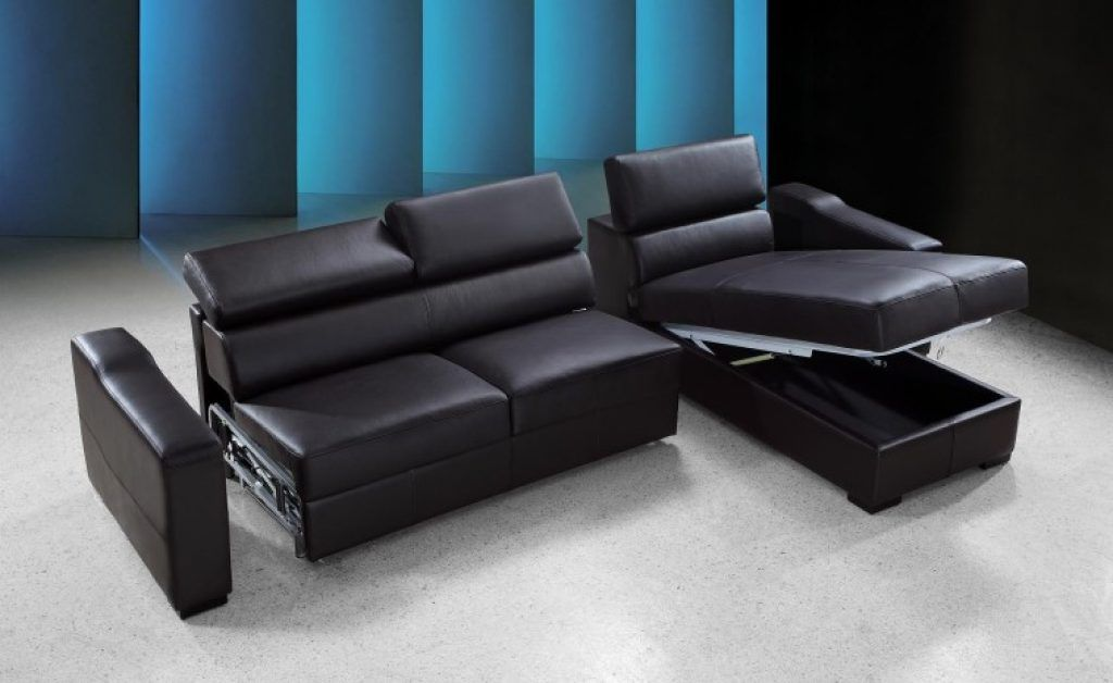 Awesome Synthetic Black Leather Convertible Modular Couch With Storage  Chaise As Well As Modern Sectional Sofas Plus Sleep Sofa