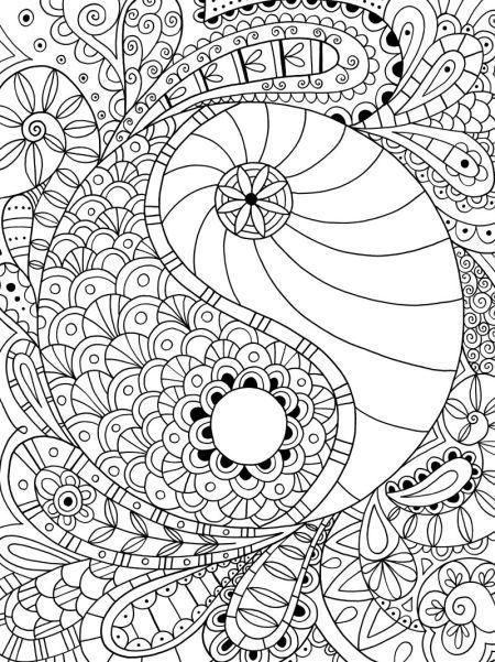 Yin Yang Colouring Page