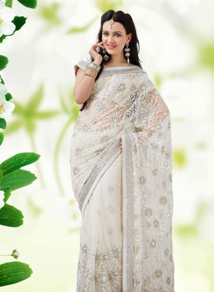 Off White latest designer saree for party wear in net D15247