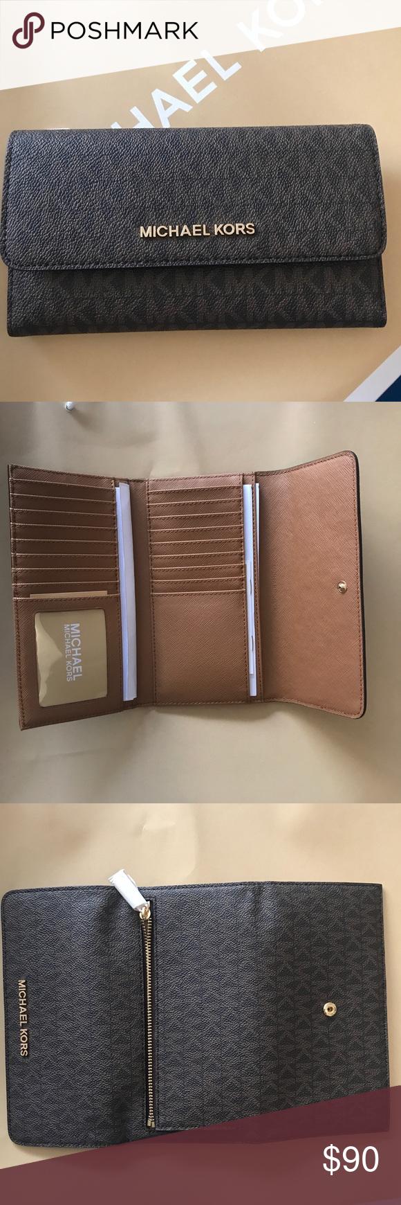 294a70615e95 Michael Kors Jet Set Travel Large Trifold Wallet Large Trifold wallet in  brown/acorn with