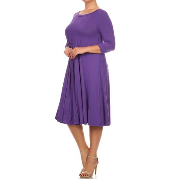 9c664943f8 Women s Purple Rayon and Spandex Plus-size Solid Dress