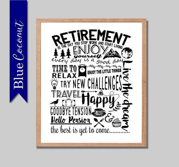 retirement printable digital file retirement by thebluecoconut