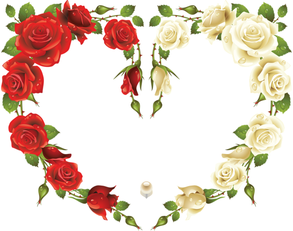Large Transparent Heart Frame with Red and White Roses | frames ...