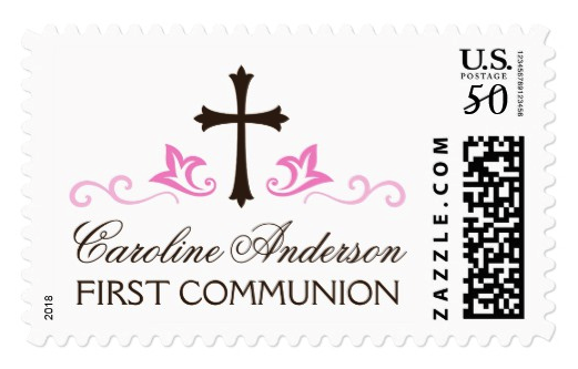 Personalized Name Pink First Holy Communion Postage Zazzle Com First Holy Communion Confirmation Invitations Communion