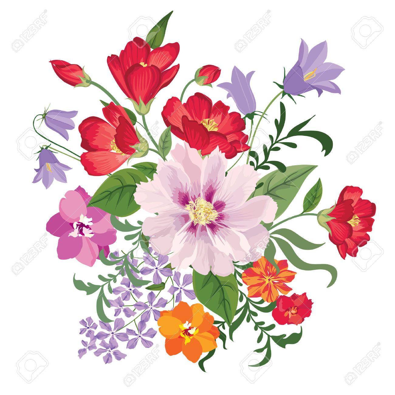 46073593 flower bouquet floral frame flourish greeting card blooming flowers isolated on white - Bouquet de fleurs des champs ...