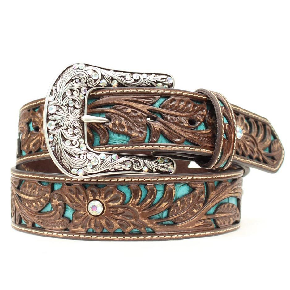 Women's Tooled Turquoise Inlay Belt is part of Turquoise jewelry outfit, Western belts, Belts for women, Turquoise leather, Cowgirl belts, Ariat belts - Fashion forward and unmistakably Western, this Ariat® women's leather belt features handtooled details, a ravishing turquoise inlay, and rhinestones for just the right amount of sparkle  The removable buckle makes for a custom style that can dress up or dress down with your favorite pair of jeans