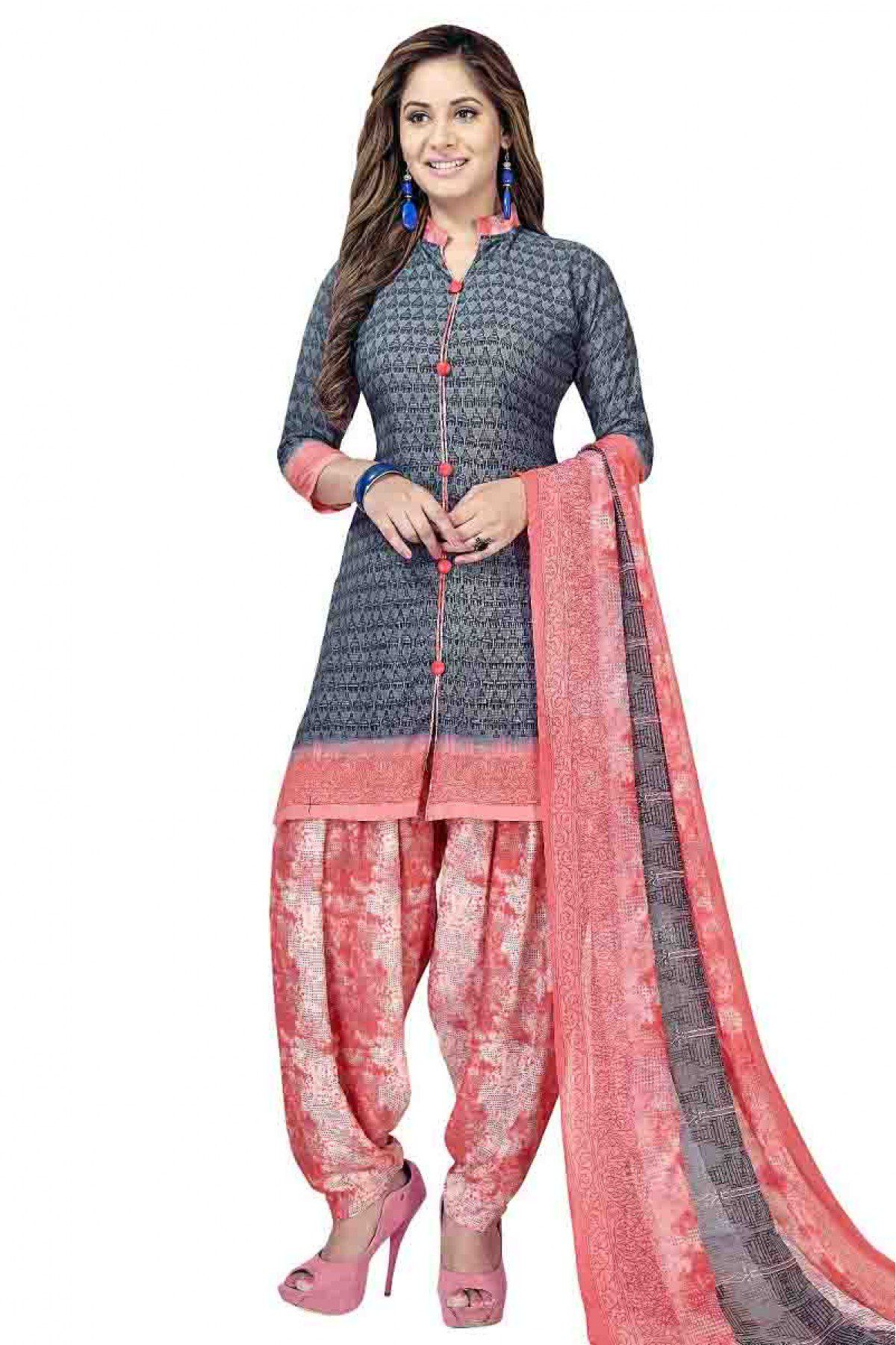 58f34fd82d Grey Colour Leon Crepe Fabric Patiala Suit Comes with Matching Dupatta and  bottom fabric This Patiala Suit Is crafted with Printed This Patiala Suit  Comes ...