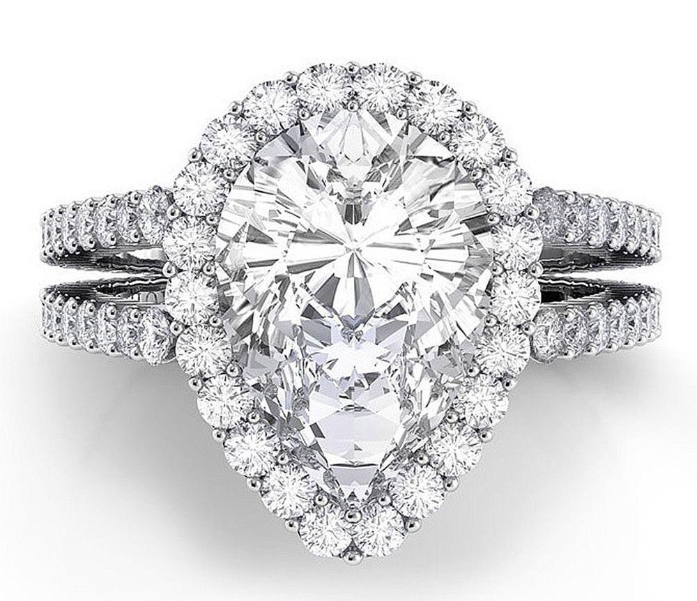 Gia certified carat pear shape halo diamond engagement ring k
