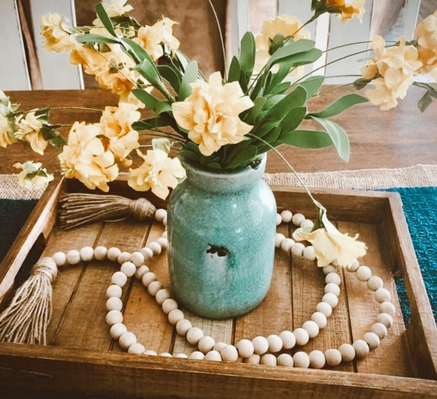 Photo of Farmhouse Beads Wood Bead Garland Rustic Prayer Beads Boho Beads with Tassels Walling Hanging Garland for Rustic Country Decor