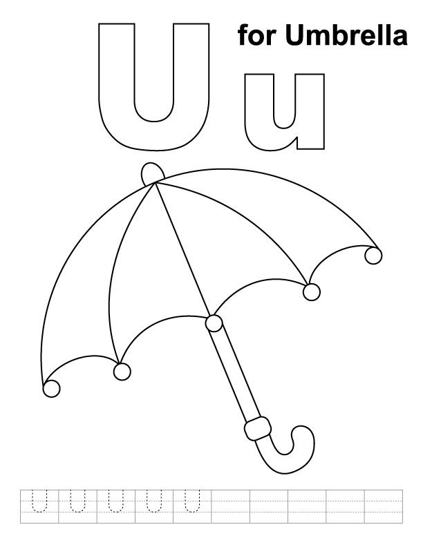 U For Umbrella Coloring Page With Handwriting Practice Alphabet