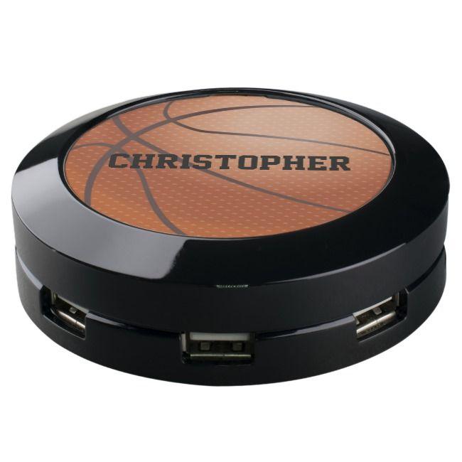 Basketball Black Name Customized Power Charger Hub