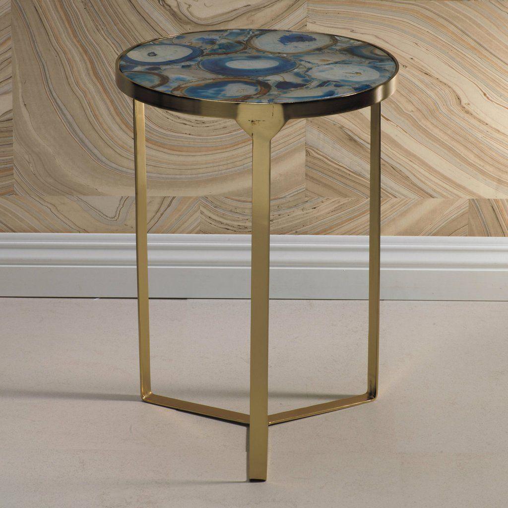 Best La Sardaigne Blue Agate End Table End Tables Side Table 400 x 300