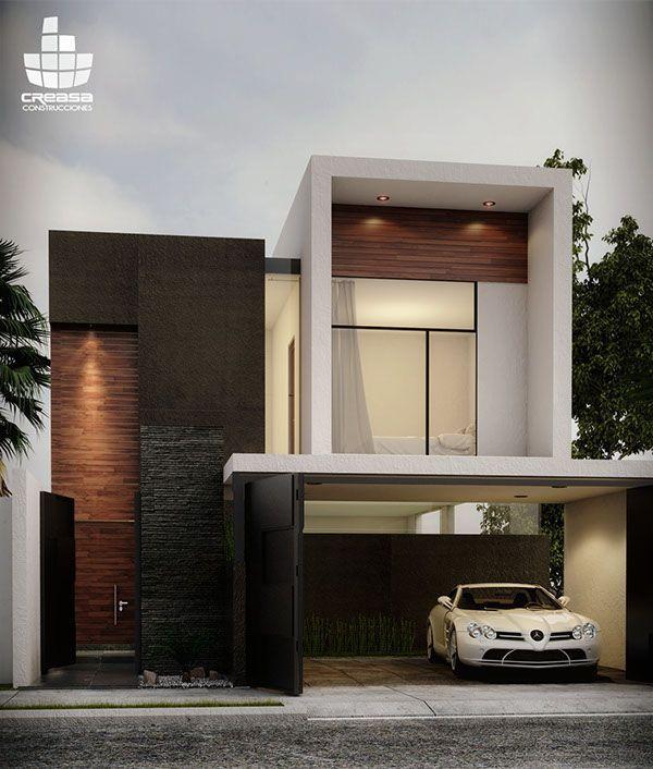 新築住宅の外観アイディア10選 箱型なナウトレンドデザイン: Fachada Casa. Laja Negra.
