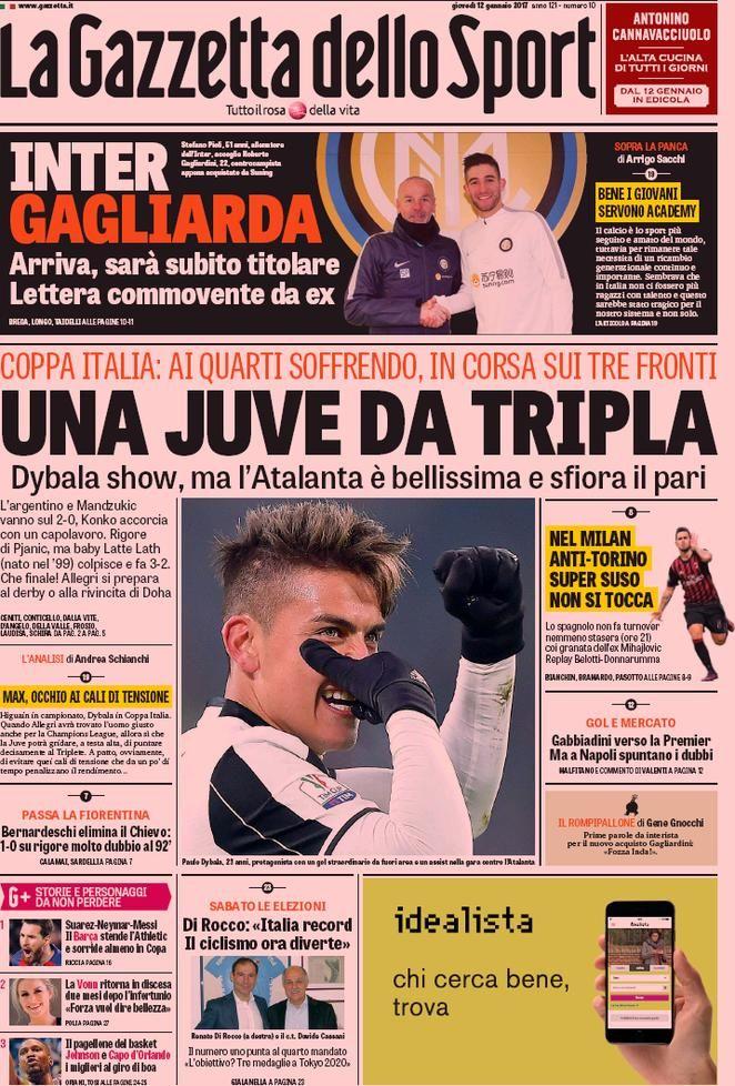Prima Pagina La Gazzetta dello Sport 12/01/2017 Sport