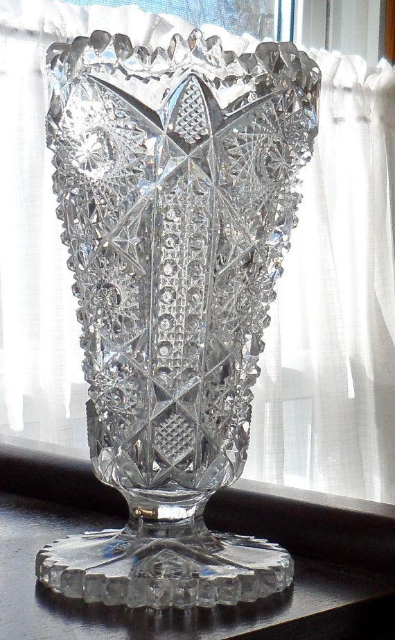 Vintage Bohemia Lead Crystal Vaseczechoslovakiabrilliant Lead