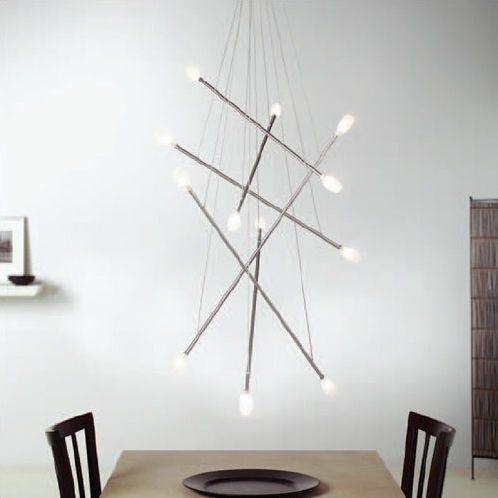 An eye catching by lighting a ceiling mounted fixture with arms bearing lights
