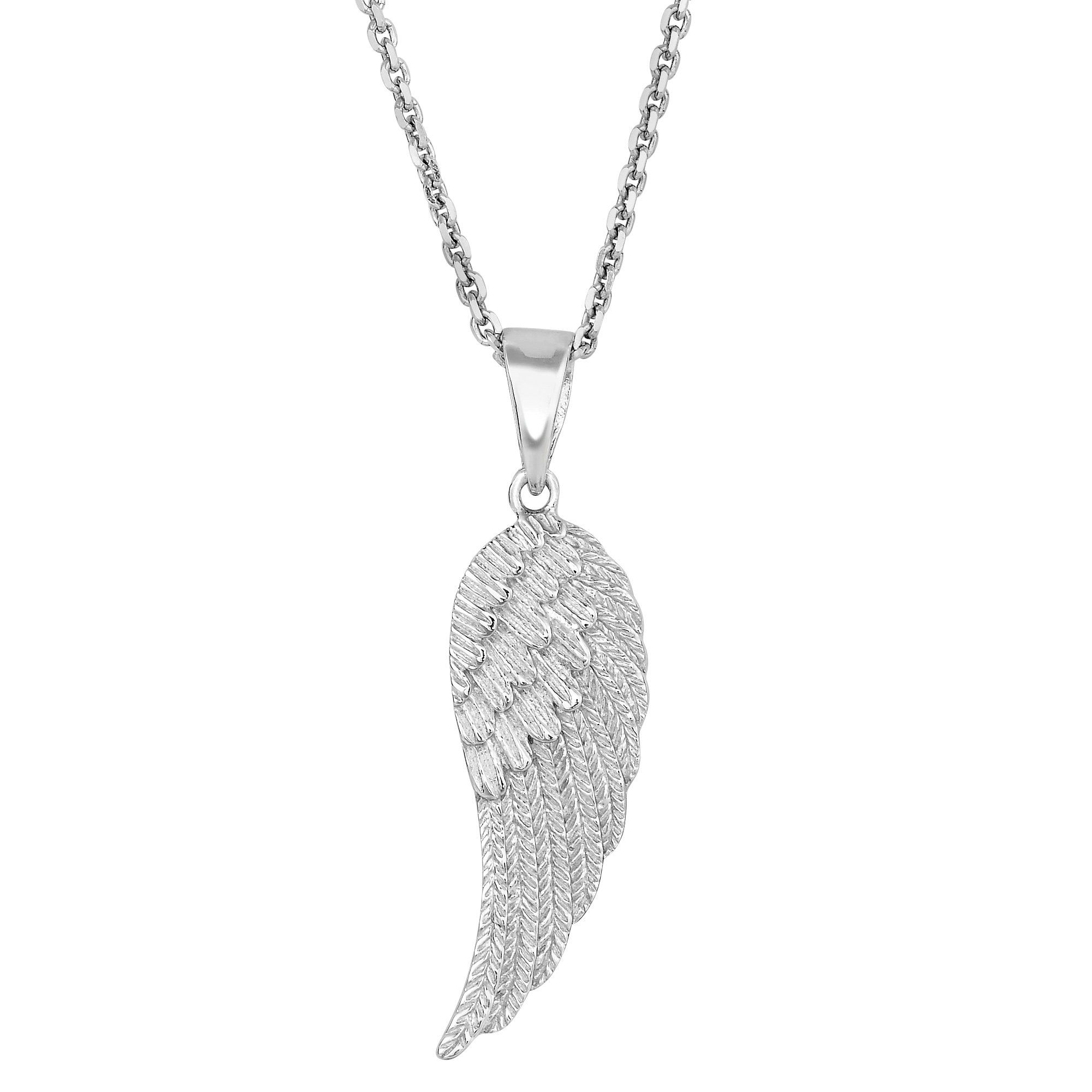 Beautifully Crafted Sterling Silver Angel Wings Pendant necklace Diamond Cut for more sparkle