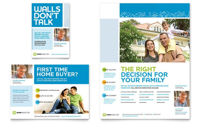 Home Inspection Inspector Flyer Ad Template Design Template Design Newsletter Design Templates Flyer