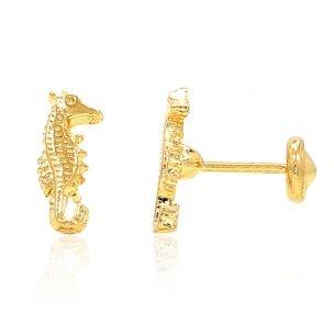 Gold Filled 18k Girl Kids Baby Infants Secure Sea Horse Earrings