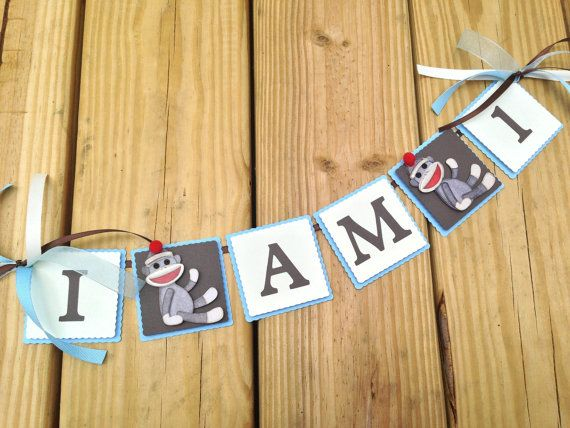 Sock Monkey High Chair Banner 1st Birthday Party Ideas Boy Sock