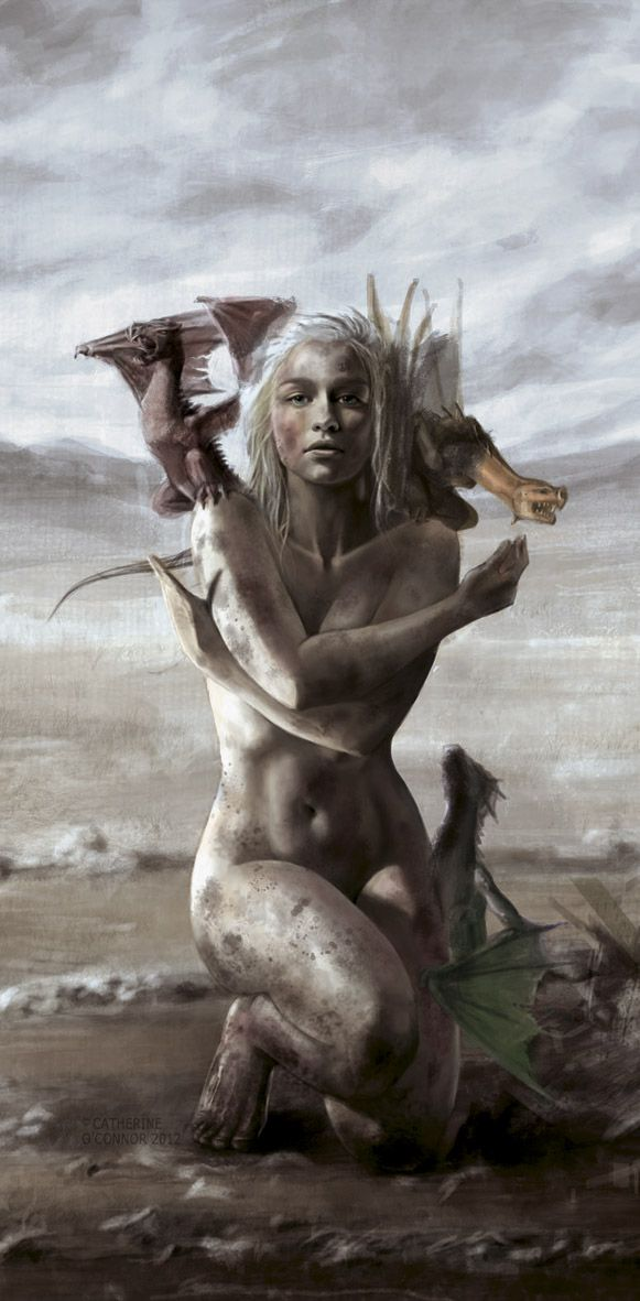 """megarah-moon:  """"Daenerys Stormborn - Mother of Dragons"""" byCatherine O'Connor     """"As Daenerys Targaryen rose to her feet, her black hissed, pale smoke venting from its mouth and nostrils. The other two pulled away from her breasts and added their voices to the call, translucent wings unfolding and stirring the air, and for the first time in hundreds of years, the night came alive with the music of dragons."""" ― George R.R. Martin, A Game of Thrones"""