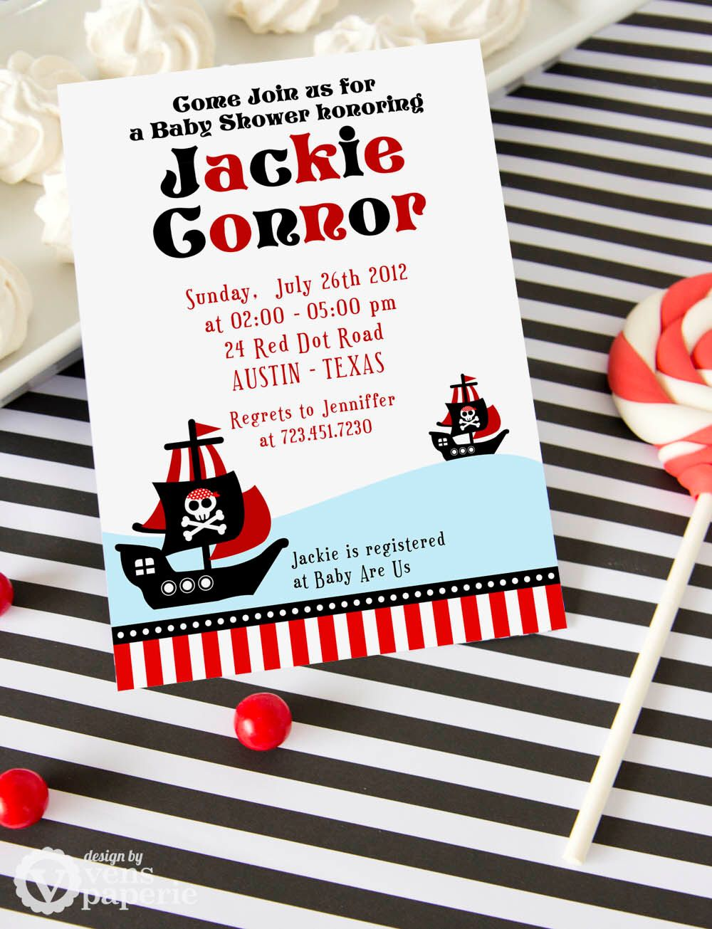 DIY PRINTABLE Invitation Card - Red Pirate of Caribbean Baby Shower ...