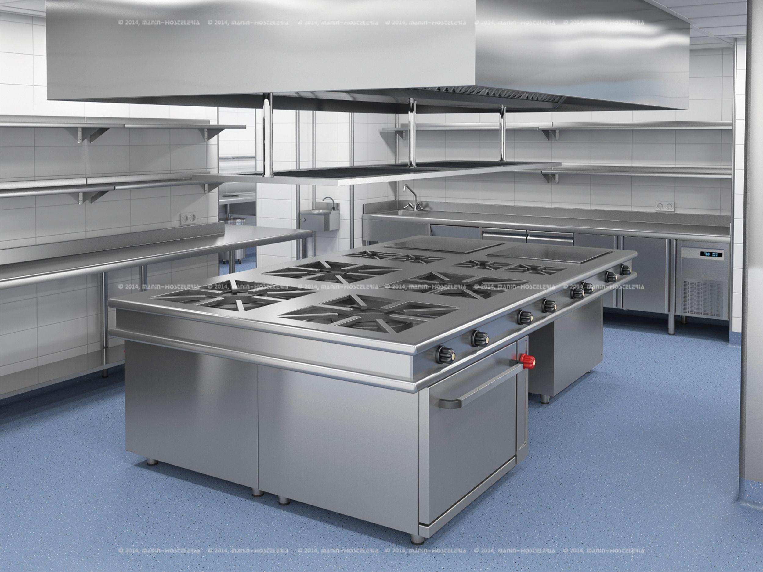 Dise o de cocina industrial en 3d y cad con rea for Costo de cocina industrial