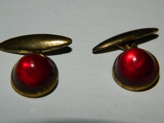 Vintage Set of Men/'s Cuff Links~ Ruby Red Design~Classic Cuff Links~Rustic Mid~Century Cuff Links~Men/'s Ruby Red Cuff Links~Gold Plated~